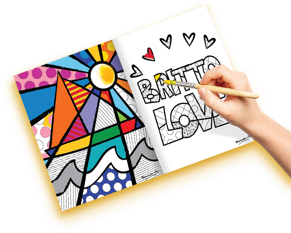 Photo of a hand applying color to a Britto book